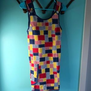 VTG 70s Patchwork Pinafore Overall Dress